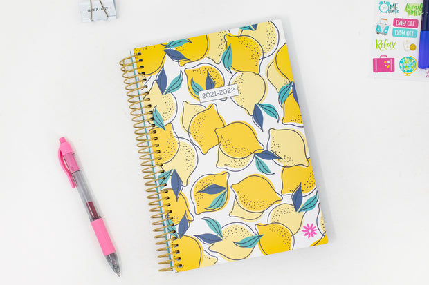 2021-22 Soft Cover Daily Planner & Calendar, Lemons