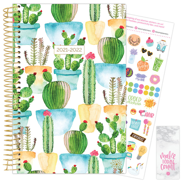 2021-22 Soft Cover Daily Planner & Calendar, White Cacti