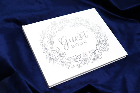 Guest Book / Guest Planner, Silver Floral - IMPERFECT