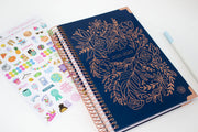 2021-22 Hard Cover Daily Planner & Calendar, Navy Embroidery