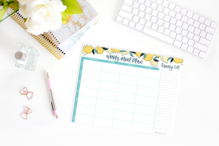 "Horizontal Meal Planning Pad with Magnets, 8.5"" x 11"", Lemons - IMPERFECT"