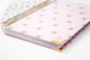 2021-22 Hard Cover Daily Planner & Calendar, Gold Bees