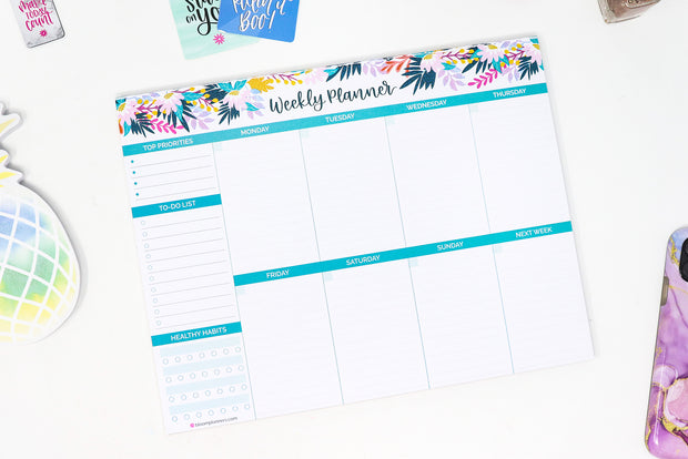 "Horizontal Weekly Planning Pad, 8.5"" x 11"", Floral - IMPERFECT"