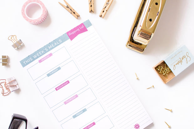 "Meal Planning Pad with Magnets, 6"" x 9"", Pink & Teal - IMPERFECT"