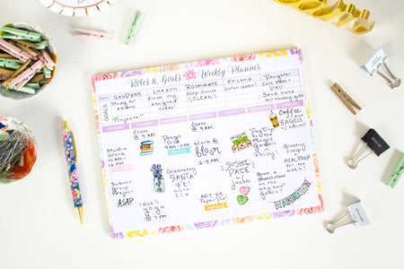 "Double Sided Roles & Goals Weekly Pad, 8.5"" x 11"""
