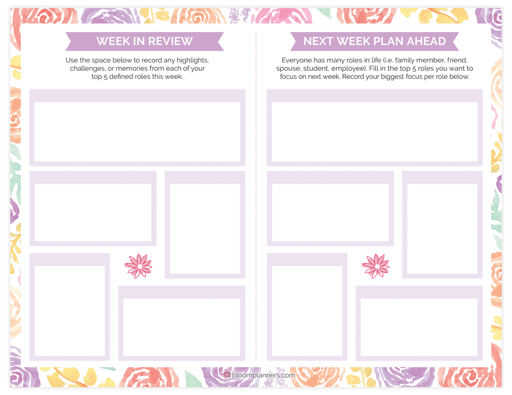 Double Sided Roles Amp Goals Weekly Pad 8 5 Quot X 11 Quot Bloom
