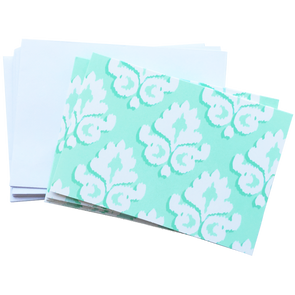 Blank Mint Damask Note Card Set