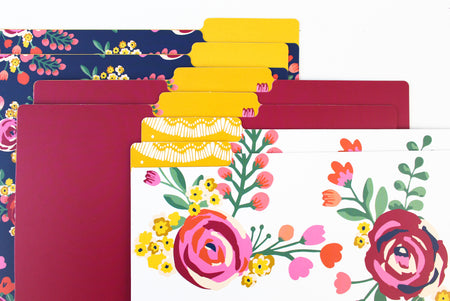 File Folder Set, Vintage Floral - IMPERFECT