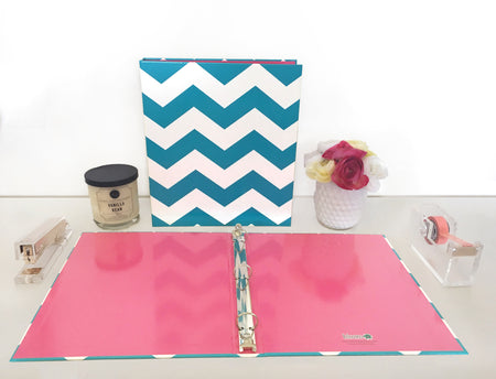 Binder, Teal Chevron