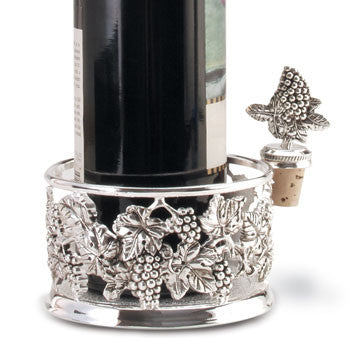 Bottle Coaster Silver-Plated with Matching Wine Stopper