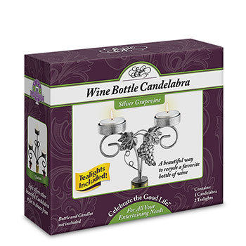 Candelabra - Silver Grapevine Wine Bottle