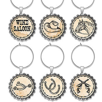 Wine Glass Charms Western Icons Bottle Cap shape