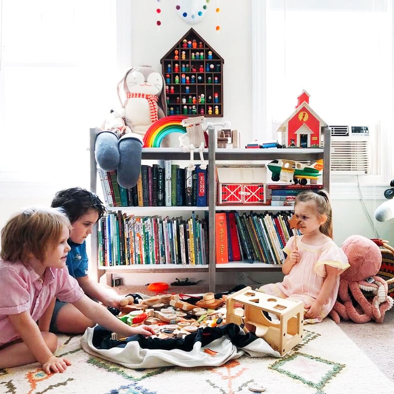 canvas swoop bag + play mat for toy storage