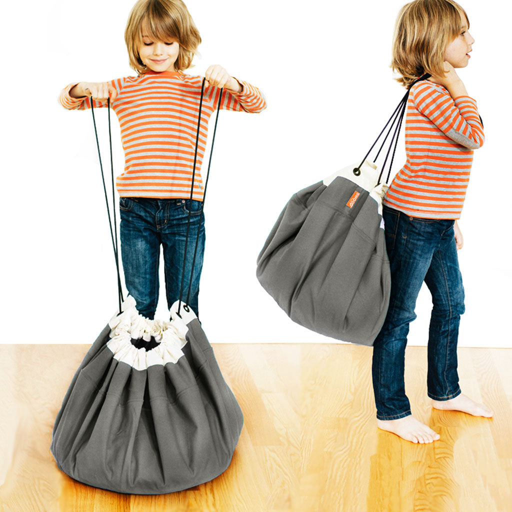 gray swoop toy storage bag