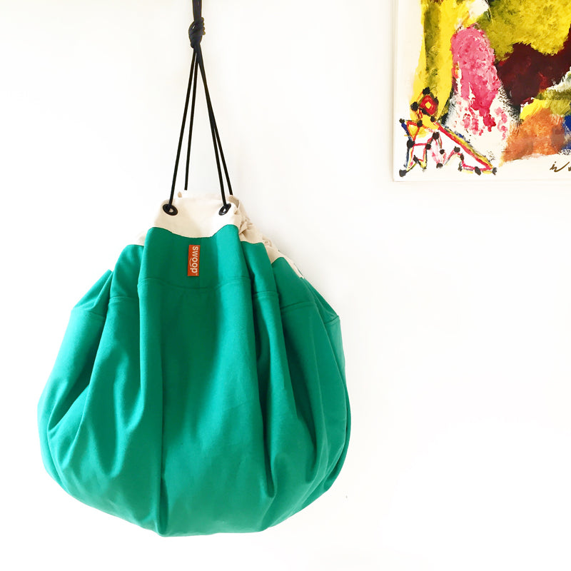 green hanging canvas swoop bag