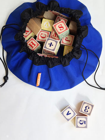 True Blue Mini Swoop Bag with Wooden Toy Blocks