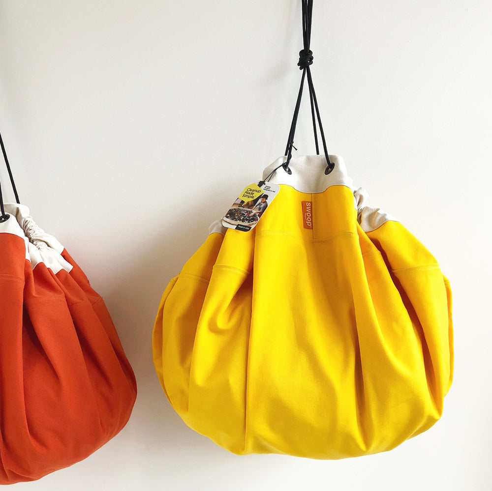 yellow swoop bag hanging