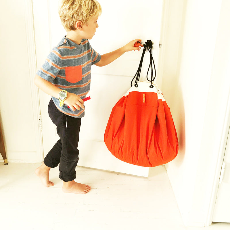 orange swoop bag canvas for toy storage ideas
