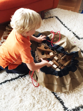 Super Khaki Swoop Bag With Wooden Trains