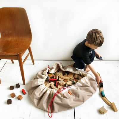 brown toy storage bag