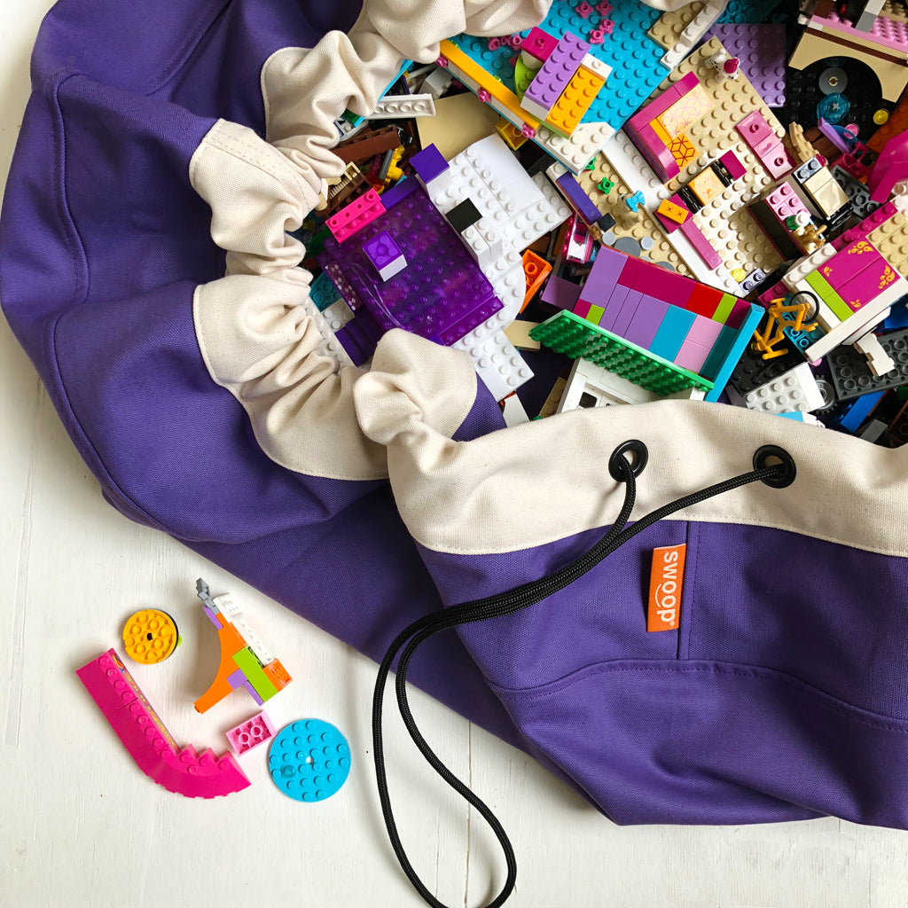 purple toy storage swoop bag