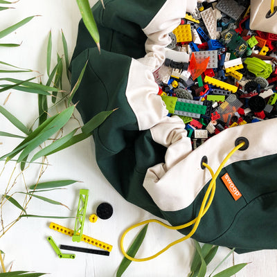 jungle green lego toy bag