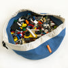 mini swoop bag for lego storage denim blue