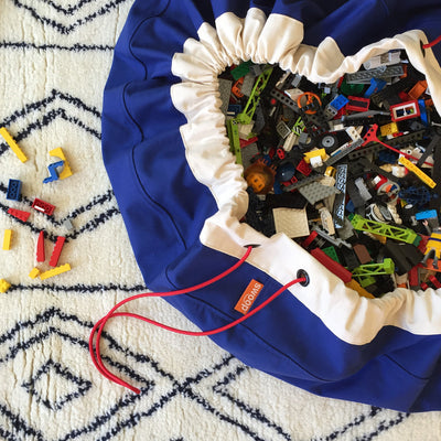 blue lego toy storage bag