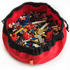 red toy bag with lego bricks