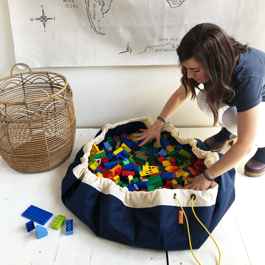 navy blue lego toy storage bag