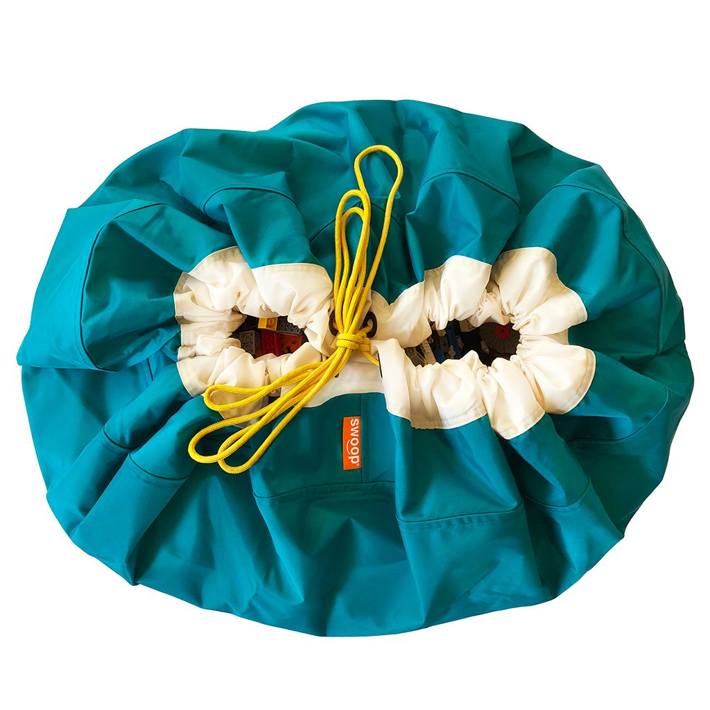 Teal Blue Swoop Toy Storage Bag Drawstring Cord Sack