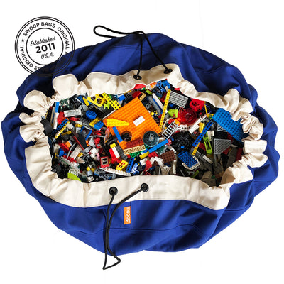 blue canvas toy storage bag lego storage ideas