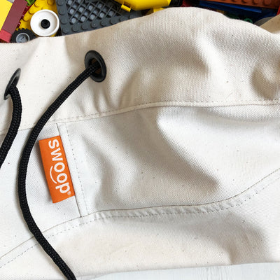 detail of swoop toy bag in canvas cotton