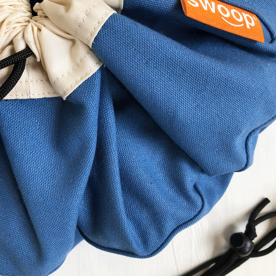 blue canvas mini swoop bag