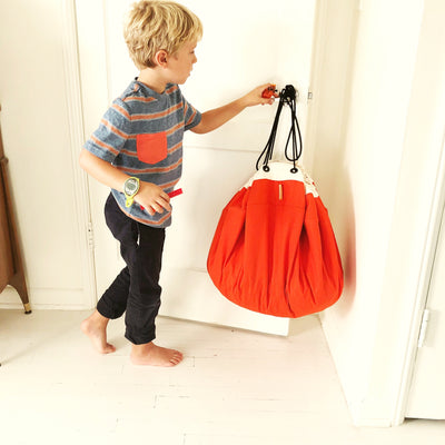 orange drawstring lego bag