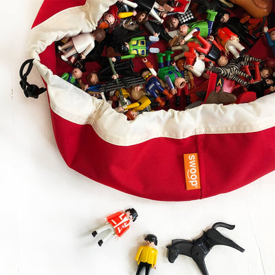 mini red swoop toy storage bag with Playmobil