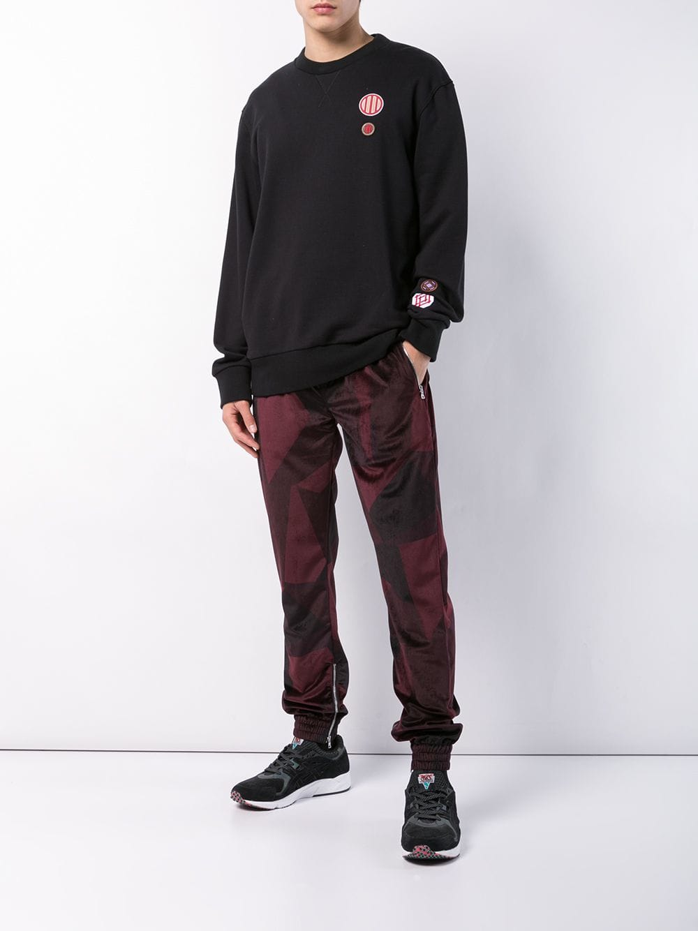 ABSTRACT JOGGER - BURGUNDY