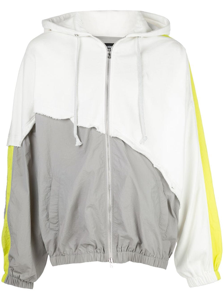 TERRY MIX COLOR BLOCK JACKET (WHITE/GREY/LIME)