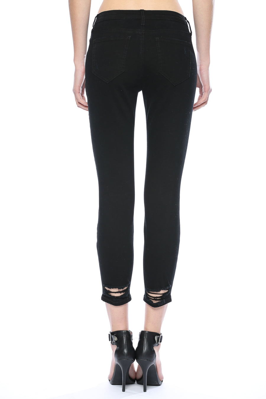 Mid Rise Open Knee Crop Skinny