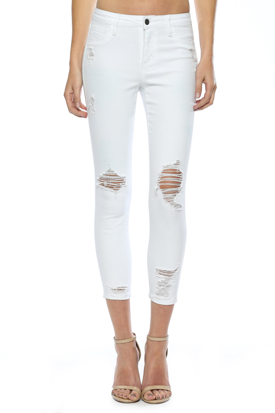 Mid Rise Open Knee White Wash Crop Skinny