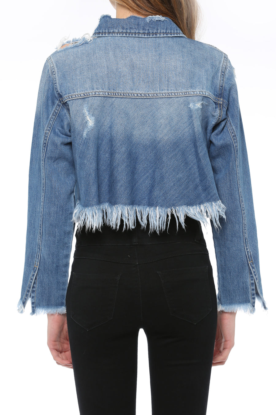 Crop Drape Ruffle Back Fray Jacket