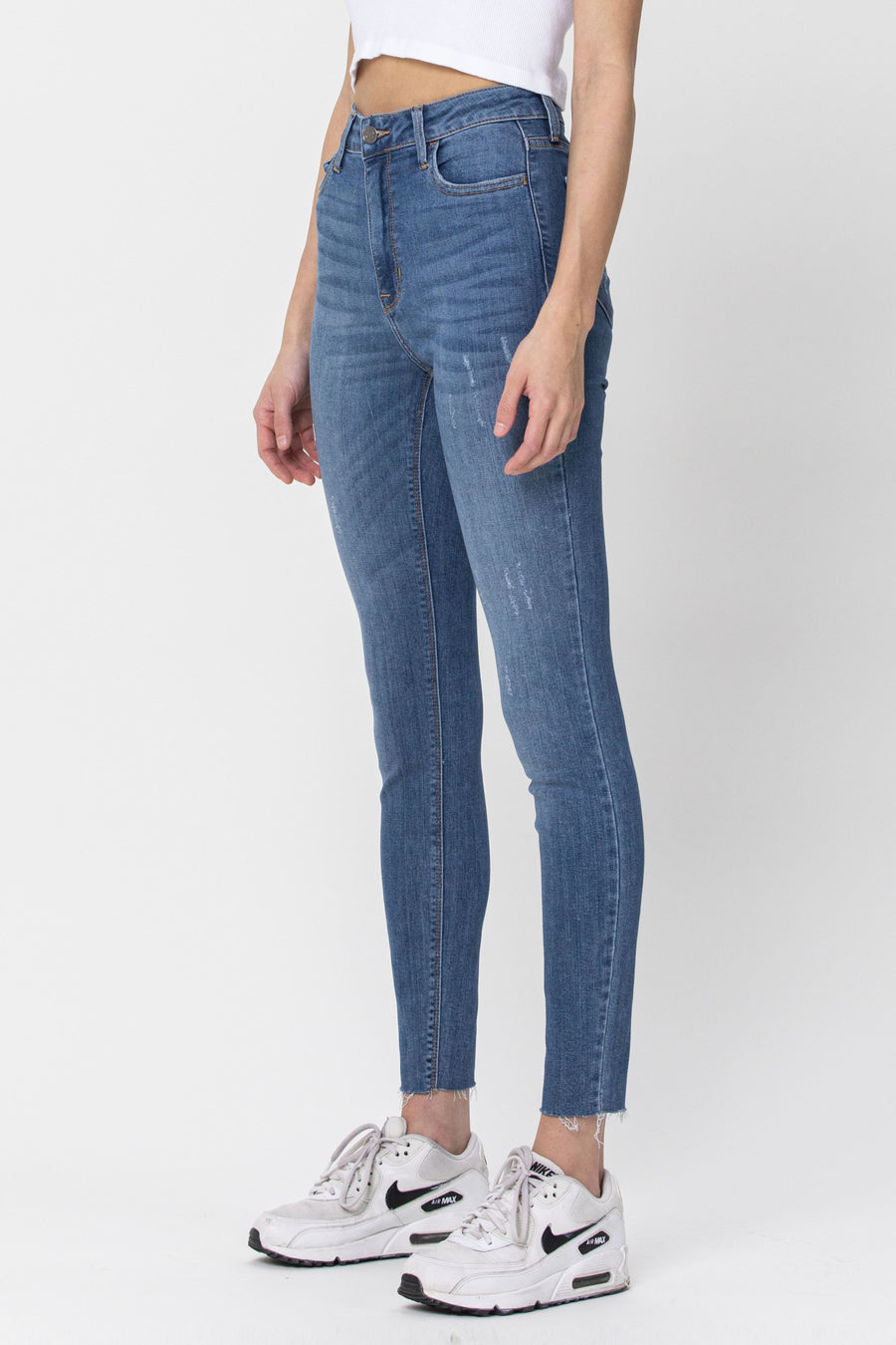 High Rise Straight Cut Ankle Skinny