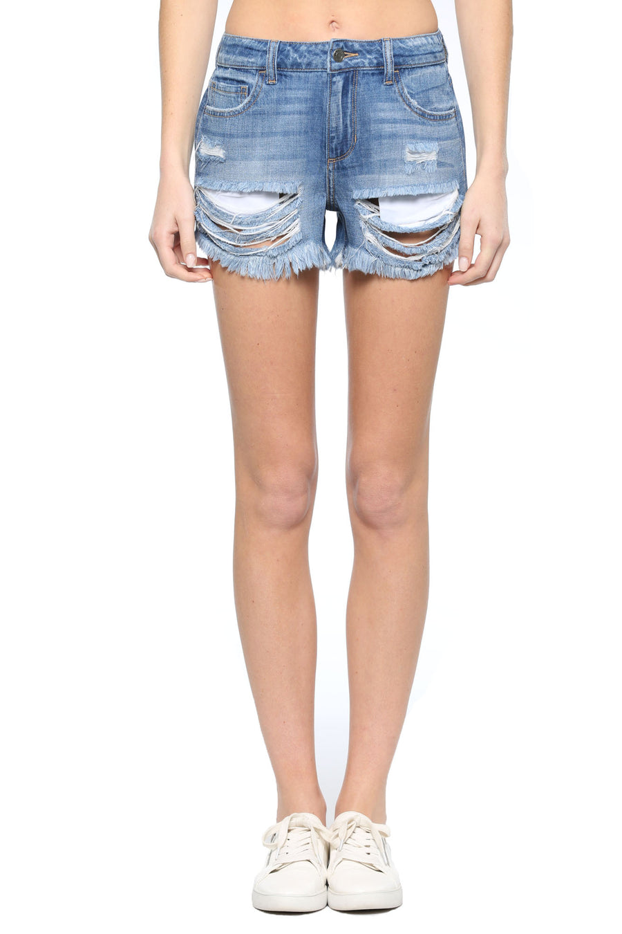 Mid Rise Frayed Hem Destroyed Short