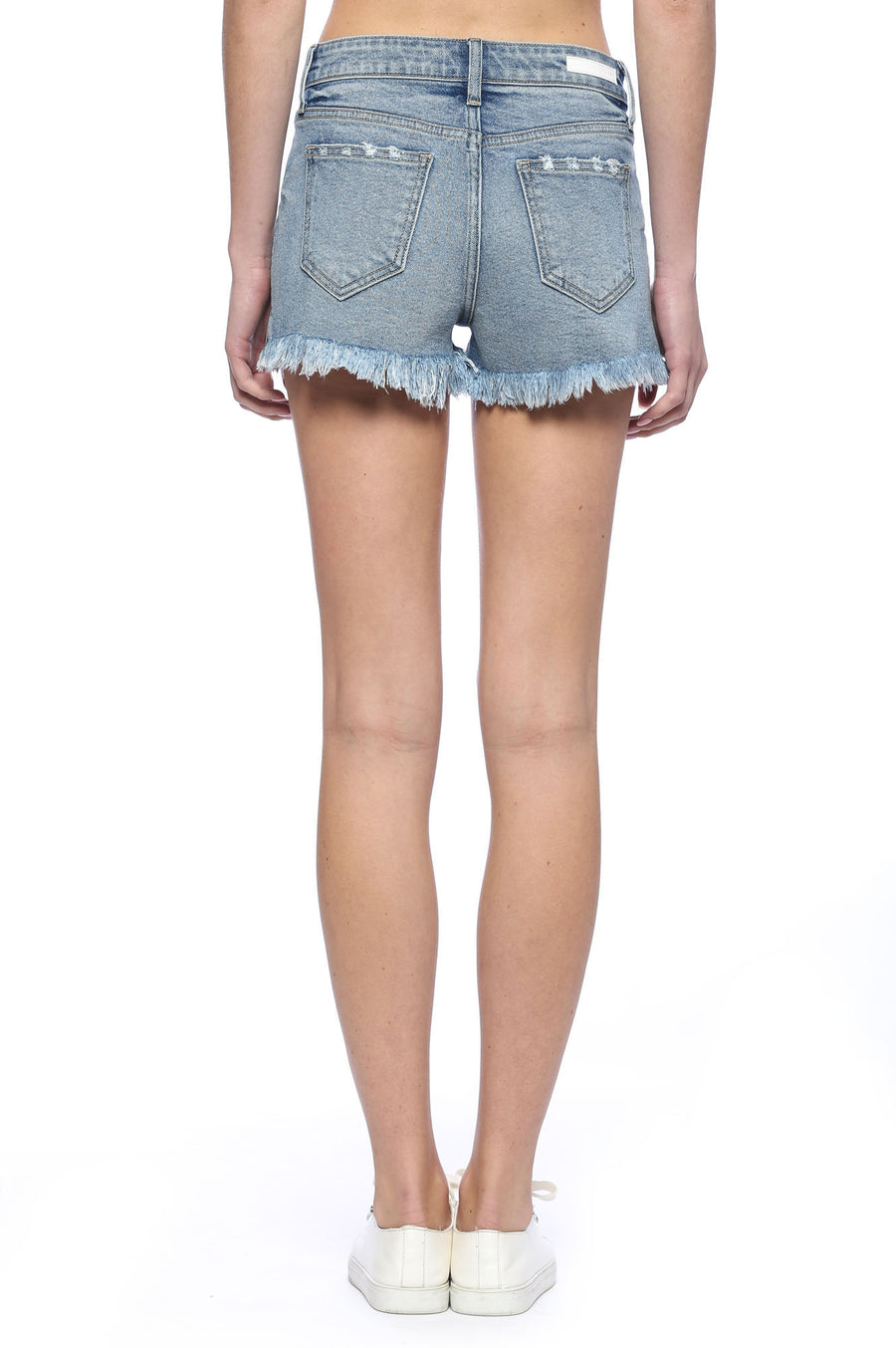 High Rise Fray Hem Shorts