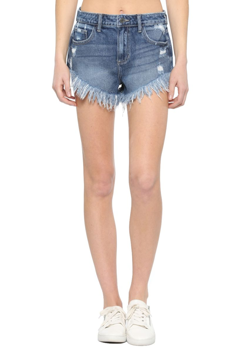 High Rise V Cut Frayed Hem Shorts