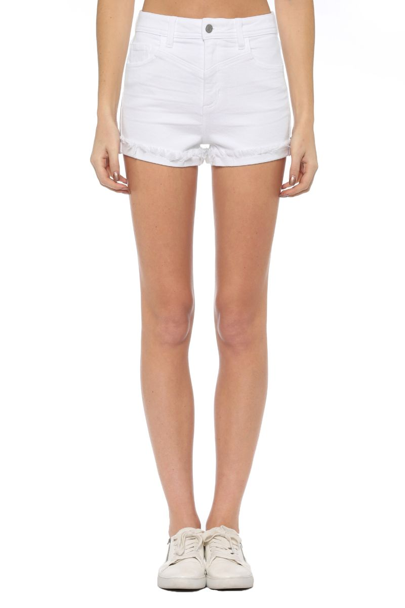High Rise Frayed Single Cuff Mom Short