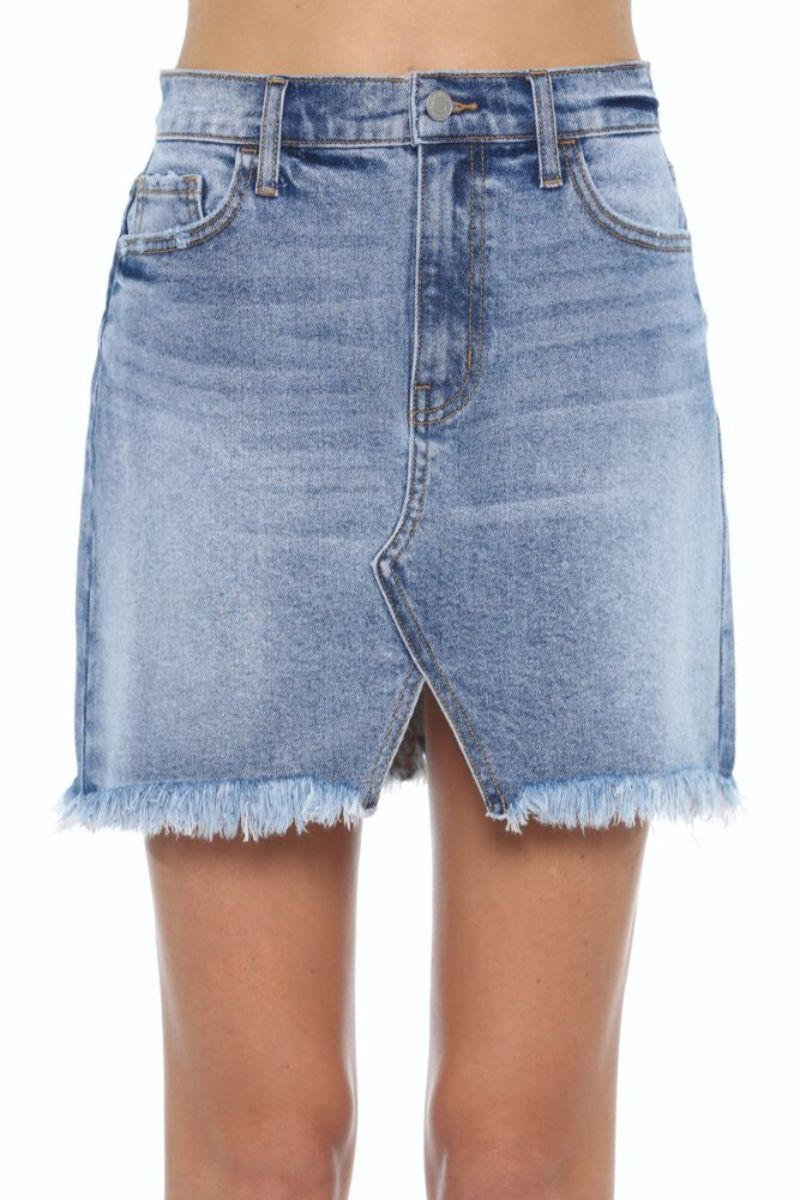 High Rise Fray Hem Mini Skirt