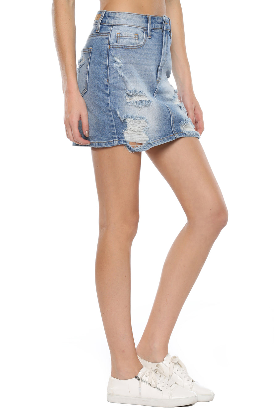 High Rise Distress Mini Skirt