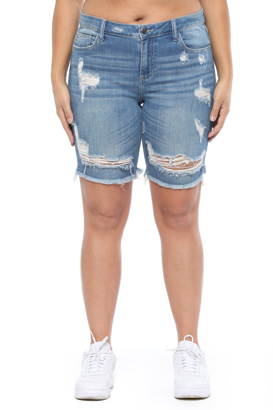 Medium Denim Distressed Bermuda