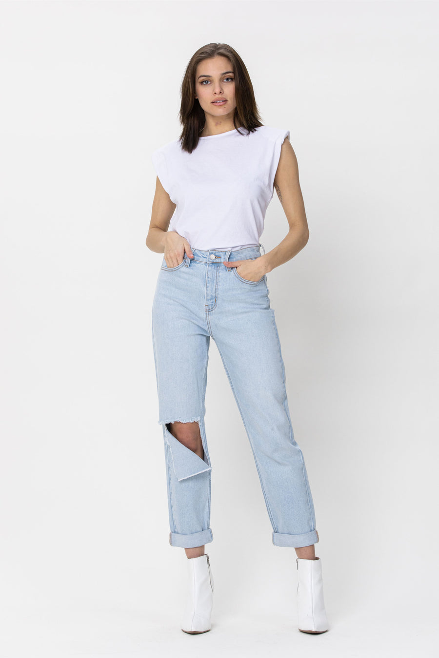 High Rise Knee Cut Double Rolled Cuff Crop Mom